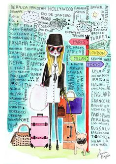 girls art, travel print,girls print, girls room art, fashion illustration, fashion print, quirky girl, jet-setter, A5 Print.