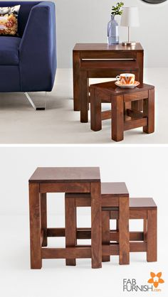 Not one, not two, but three!  Use these easy to move #stools as side #tables or just stage a stunning #décor item on them.