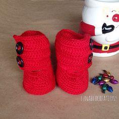Handmade Baby Girl Crochet Boots in Red