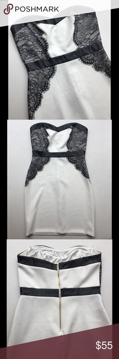 Strapless Black & White Dress Worn once! Black details are lace & leather. Gold zipper, sweetheart neckline. STUNNING! Perfect for a Bride-to-Be or for a formal event! Guess Dresses Strapless