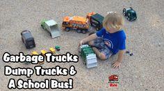 Garbage Trucks & Dump Trucks & A School Bus (Trashy Fun)!