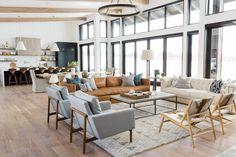 Modern Mountain Home: Living Room, Leather Sofa, Black Framed Windows || Studio McGee