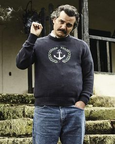 ID on the sweater pablo escobar is wearing:streetwear