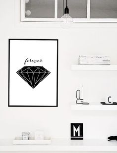 "Geometric Art Design Print, Black and White Diamond Art Poster, Unique Engagement Gift Idea 70x100, 50x70, 24x36"", A4 by PrintablePixel on Etsy"