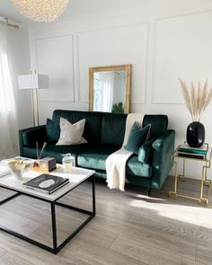 My loves, I hope you enjoy my new living room tour! For 2020 it was time to revamp my space on a budget creating this luxury, french inspired living room. Living Room Design Small Spaces, Green Living Room Decor, Living Room Green, Apartment Living Room, Living Room Sofa, Green Sofa Living Room, Couches Living Room, Green Couch Living Room, Gold Living Room