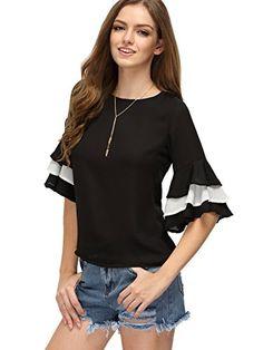 a949bc17d80c4 Floerns Women s Ruffle Bell Sleeve Casual Blouse Crop Tops Black M