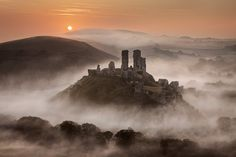 """archaicwonder: """"Ghosts of Corfe Castle, Dorset Corfe Castle, built by William the Conqueror in the century, has a few ghostly tales attached to its history. Before the current castle was built,. Landscape Photography Tips, Landscape Photographers, Scenic Photography, Aerial Photography, Night Photography, Landscape Photos, Corfe Castle, Famous Castles, Beautiful Castles"""
