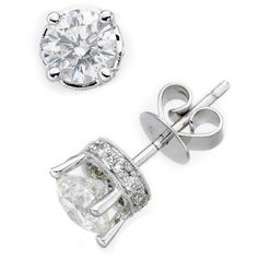 Diamond Earrings, 14k White Gold Diamond Filigree Stud (1/2 Ct .T.W.), found on polyvore.com
