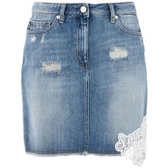 Love Moschino Mini Skirt (182.700 CLP) ❤ liked on Polyvore featuring skirts, mini skirts, blue, short blue skirt, short mini skirts, blue skirt, love moschino skirt and love moschino