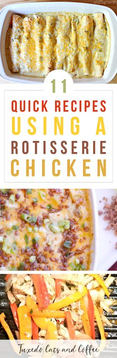 Are you looking for a cheap and easy weeknight chicken meal idea using a rotisserie chicken to speed things up even more? Here are 11 delicious rotisserie chicken meal ideas for your next dinner! Recipes Using Rotisserie Chicken, Easy Chicken Recipes, Quick Recipes, Quick Easy Meals, Easy Dinner Recipes, Healthy Recipes, Costco Chicken, Chicken Ideas, Sweets Recipes