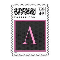 Pink & Black Damask Monogram Wedding Stamp #wedding #stamps #love #marriage #romance #bride #groom #jaclinart #love #postage #pink #black #damask #monogram