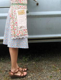 layered wrap apron made from repurposed vintage pillowcases