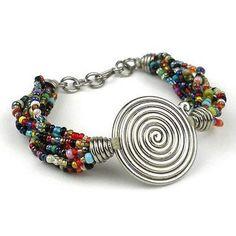 Single Spiral 'progress' Multicolor Beaded Bracelet - Zakali Creations Boho for sale online Homemade Bracelets, Homemade Jewelry, Artisan Jewelry, Handcrafted Jewelry, Handmade, Bracelet Making, Jewelry Making, Beaded Jewelry, Beaded Bracelets