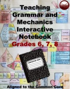 A no-prep interactive grammar notebook to teach review and grade-level grammar and mechanics Standards. With Cornell Notes, foldables, tons of online links, practice worksheets, and biweekly tests. Now on #teacherspayteachers #tpt #grammar #education #school #teaching #teachers