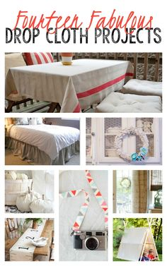 14 Fabulous DIY Drop Cloth Projects so many great ideas from a tablecloth to a camera strap. Love that! on thisgirlslifeblog.com