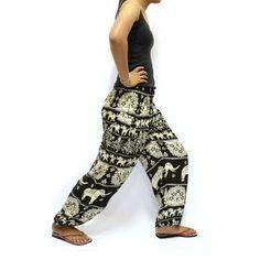 c778351ec63e4 Black and White Elephants Printed Harem pants Aladdin pants Yoga Pants  Boho  Pants Thai Pants  Elastic Waist Pants Unisex Pants