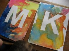 initials; contact paper and water color