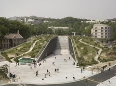 Womans University in South Korea designed by Dominique Perrault Architecture. Photo by André Morin via .Ewha Womans University in South Korea designed by Dominique Perrault Architecture. Photo by André Morin via . University Architecture, Green Architecture, Architecture Photo, Landscape Architecture Model, Contemporary Architecture, Urban Landscape, Landscape Design, Korea Design, Roof Design