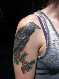raven-tattoo - 60  Mysterious Raven Tattoos  <3 <3
