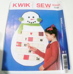 Snowman Winter Calendar Advent days of Christmas count down craft kids sewing pattern Kwik Sew 4037 Kerstin Martensson UNCUT FF by retroactivefuture on Etsy