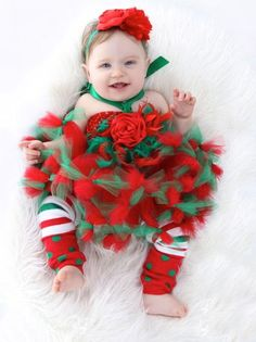 Santa's Little Diva Baby Couture Feather Red & Green Tutu Dress