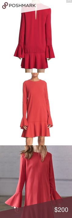 """Theory Marah peplum long bell sleeves red dress Theory """"Marah"""" stretch-woven dress. Jewel neckline. Long sleeves; flared cuffs. Loose silhouette. Dropped peplum hem. Button-keyhole back. Viscose/spandex. Imported of Italian material. Theory Dresses Long Sleeve"""