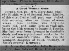 Mrs. Mary Jane Shelledy RItchie wife gen Jo. Ritchie died.  dau of Caleb Shelledy of Shelby Co, KY