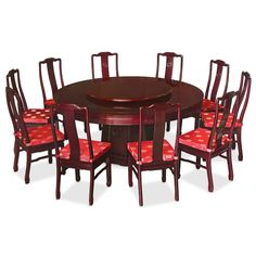 Exhibiting its pleasing simple lines in a distinct Ming (1368-1644) style, this exquisite dining set is intricately carved in Chinese key on the apron of the table and longevity symbols on the table's base. Completely handmade in solid rosewood by artisans in China, using the traditional joinery technique. One removable lazy Susan is included for your convenience. Hand applied dark cherry finish.