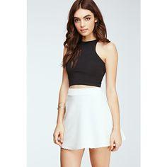 Forever 21 Women's  Ribbed Skater Skirt ($8) ❤ liked on Polyvore featuring skirts, circle skirt, forever 21, skater skirt, preppy skirts and full length skirt