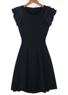 Classic A Line Design Black Dress for Woman