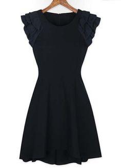 ruffled sleeve black dress