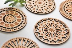 Geometric Wood Cut Coasters - Laser Cut Adler Wood Coasters - Set of 5 on Etsy, 26,27 €