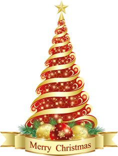 Merry Christmas Red Tree PNG Clipart
