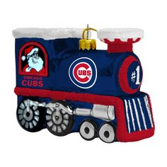 Chicago Cubs Glass Train Ornament by Boelter at SportsWorldChicago.com    #ChicagoCubs  #Cubs  #MLB  #FlyTheW