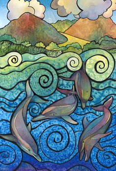 """""""Nai'a Aloha"""" (watercolor collage)  Our playful dolphin friends!"""