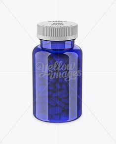 Blue Pill Bottle Mockup (High-Angle Shot)