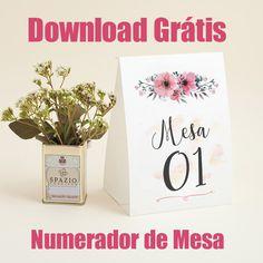 Download Grátis, Numerador de Mesa para baixar, arte editável marcador de mesa, menu floral, arte grátis.