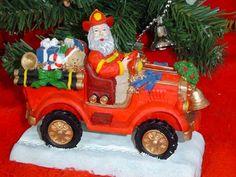 Christmas Store, Christmas Ideas, Christmas Ornaments, Resin Sculpture, Fire Department, Fire Trucks, Firefighter, Santa, Presents