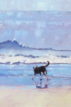 """18 x 18 Oil Painting of Border Collie Dog. """"Grace the Border Collie Encounters a Wave"""" Seascape Oil Painting. Border Collie Art, Collie Dog, Impressionist Paintings, Buy Paintings, Canvas Paintings, Original Paintings, Stretched Canvas Prints, Dog Art, Lovers Art"""