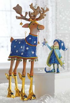 Add a whimsical touch to your holiday display with the Patience Brewster Comet Dash Away Reindeer Character that features beautiful hand painted details.