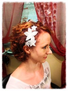 This was my short wedding hair! Made the flowers myself :)