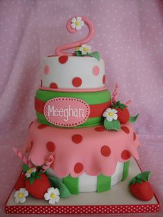 Strawberry shortcake birthday cake by icedimpressions, via Flickr