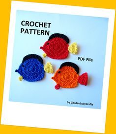 Colorful Tropical Fish Applique Crochet by GoldenLucyCrafts, $3.60