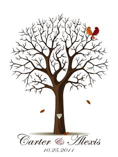my guest book <3 FALL Wedding Guestbook SignatureThumbPrint Tree by YourKeepsakeCo, $19.50