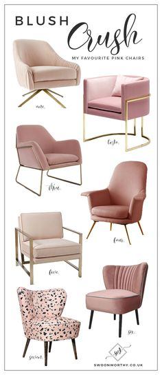 Crush: My Favourite Blush Pink Chairs Accent Chairs - living room interior design and home decor accents idea! Accent Chairs - living room interior design and home decor accents idea! Interior Design Living Room, Living Room Decor, Bedroom Decor, Interior Livingroom, Bedroom Chair, Bedroom Ideas, Master Bedroom, Living Room Chairs, Design Bedroom