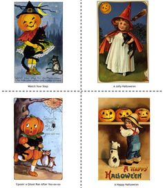 vintage old fashioned halloween cards