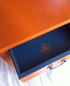 Barcelona Orange and Aubusson Blue painted side table, the perfect marriage of two European colors. $135.00, via Etsy.