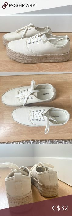 H&M Cream Espadrille Sneaker Wedges Size US 6 but fits 1-1/2 larger. Great transition to fall or to spruce up a casual outfit. A few stains on toe caps but otherwise excellent condition. H&M Shoes Sneakers Plain White Sneakers, Light Pink Sneakers, Chunky Sneakers, Grey Sneakers, Slip On Sneakers, Platform Sneakers, Shoes Sneakers, Sneaker Wedges, Espadrille Sneakers
