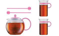 Bodum Limited Edition 70th Anniversary Assum Tea Press Set  Glass Teapot Press 34 Oz Glass Mugs  Spoons Pink * For more information, visit image link.
