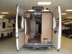 Folding rear bed in 2014 Winnebago Travato, a campervan built on a Dodge Promaster (Fiat Ducato) chassis.
